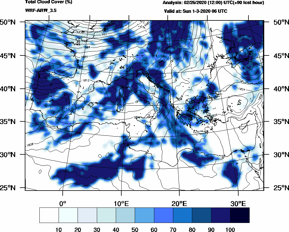 Total cloud cover (%) - 2020-03-01 00:00