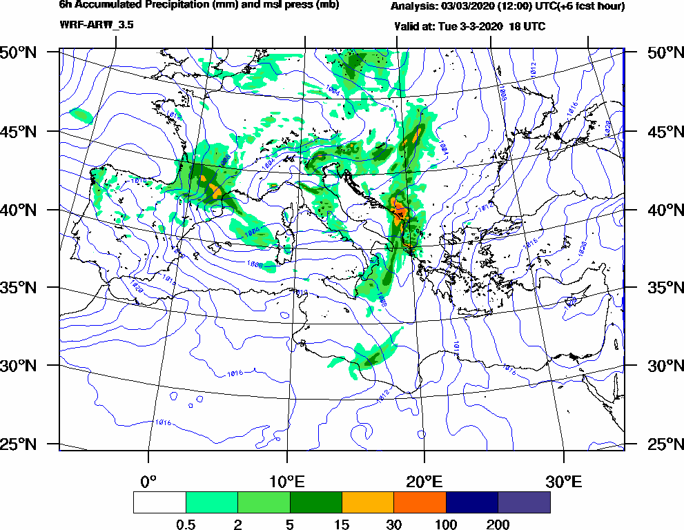 6h Accumulated Precipitation (mm) and msl press (mb) - 2020-03-03 12:00