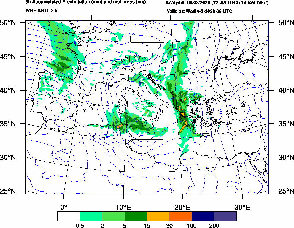 6h Accumulated Precipitation (mm) and msl press (mb) - 2020-03-04 00:00