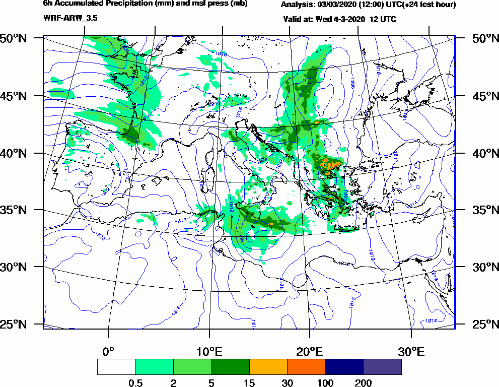 6h Accumulated Precipitation (mm) and msl press (mb) - 2020-03-04 06:00