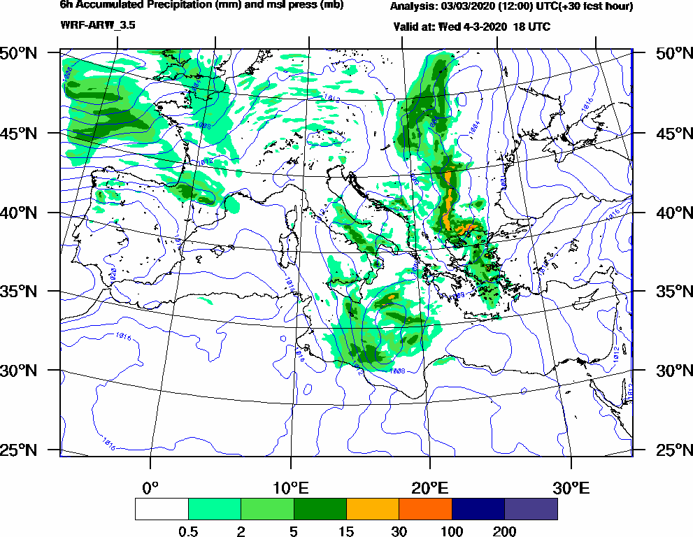 6h Accumulated Precipitation (mm) and msl press (mb) - 2020-03-04 12:00