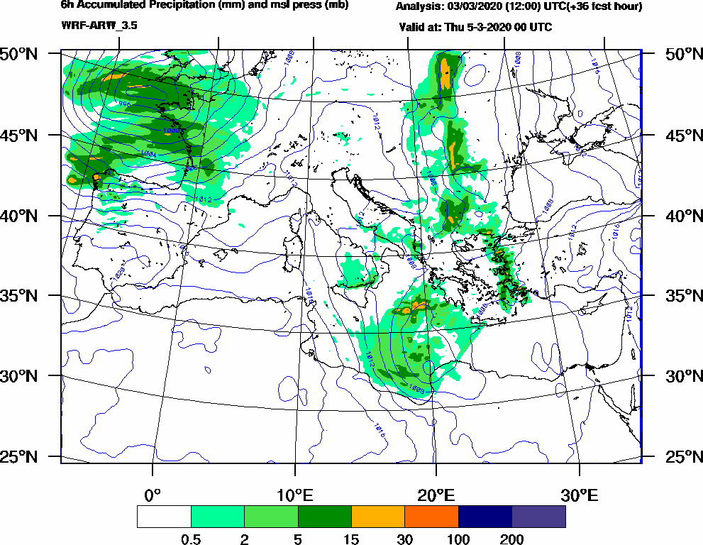 6h Accumulated Precipitation (mm) and msl press (mb) - 2020-03-04 18:00