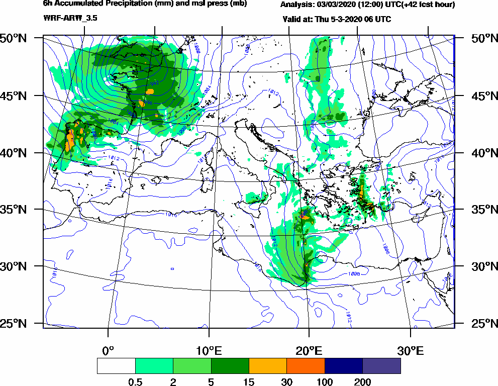 6h Accumulated Precipitation (mm) and msl press (mb) - 2020-03-05 00:00