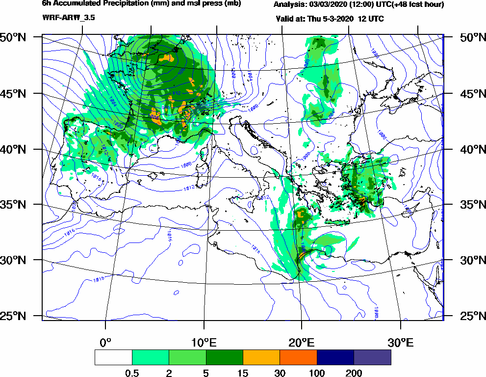 6h Accumulated Precipitation (mm) and msl press (mb) - 2020-03-05 06:00
