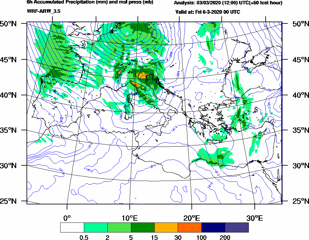 6h Accumulated Precipitation (mm) and msl press (mb) - 2020-03-05 18:00