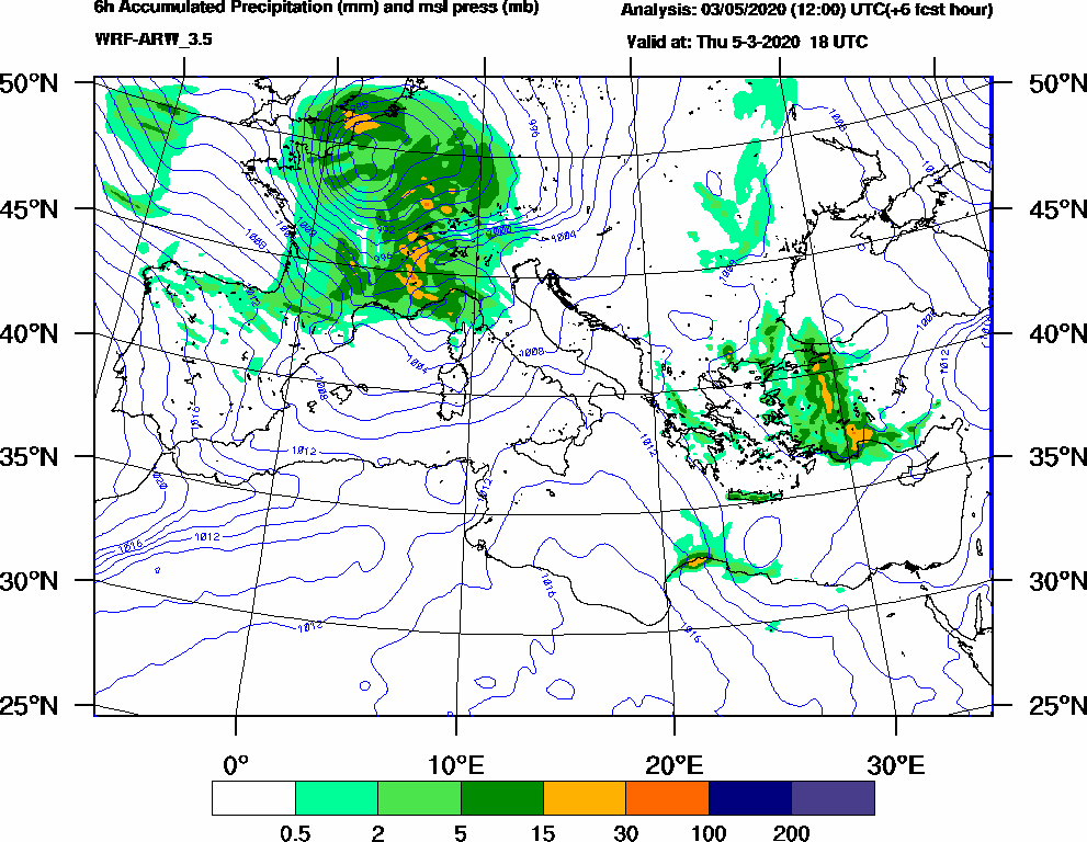 6h Accumulated Precipitation (mm) and msl press (mb) - 2020-03-05 12:00