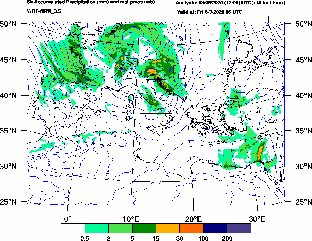6h Accumulated Precipitation (mm) and msl press (mb) - 2020-03-06 00:00
