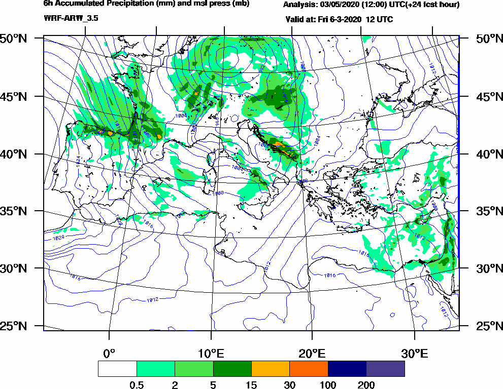 6h Accumulated Precipitation (mm) and msl press (mb) - 2020-03-06 06:00