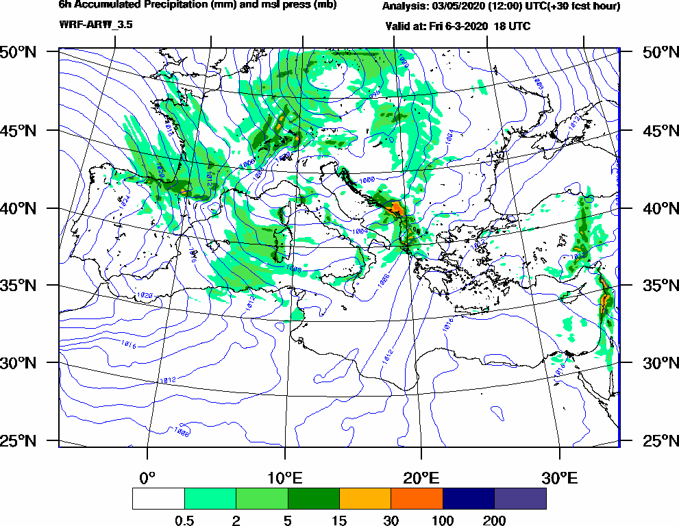 6h Accumulated Precipitation (mm) and msl press (mb) - 2020-03-06 12:00