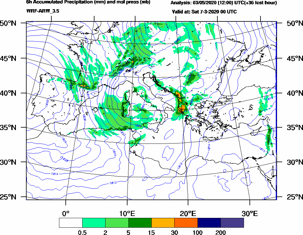 6h Accumulated Precipitation (mm) and msl press (mb) - 2020-03-06 18:00