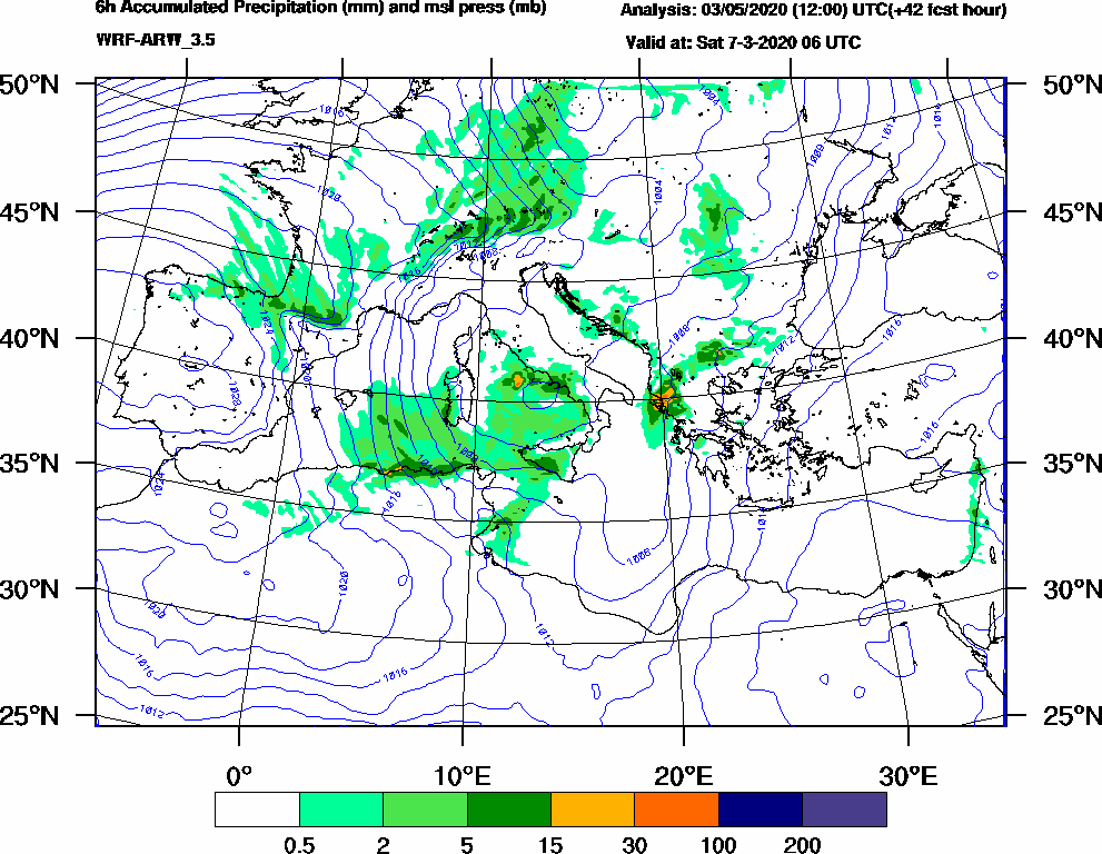 6h Accumulated Precipitation (mm) and msl press (mb) - 2020-03-07 00:00