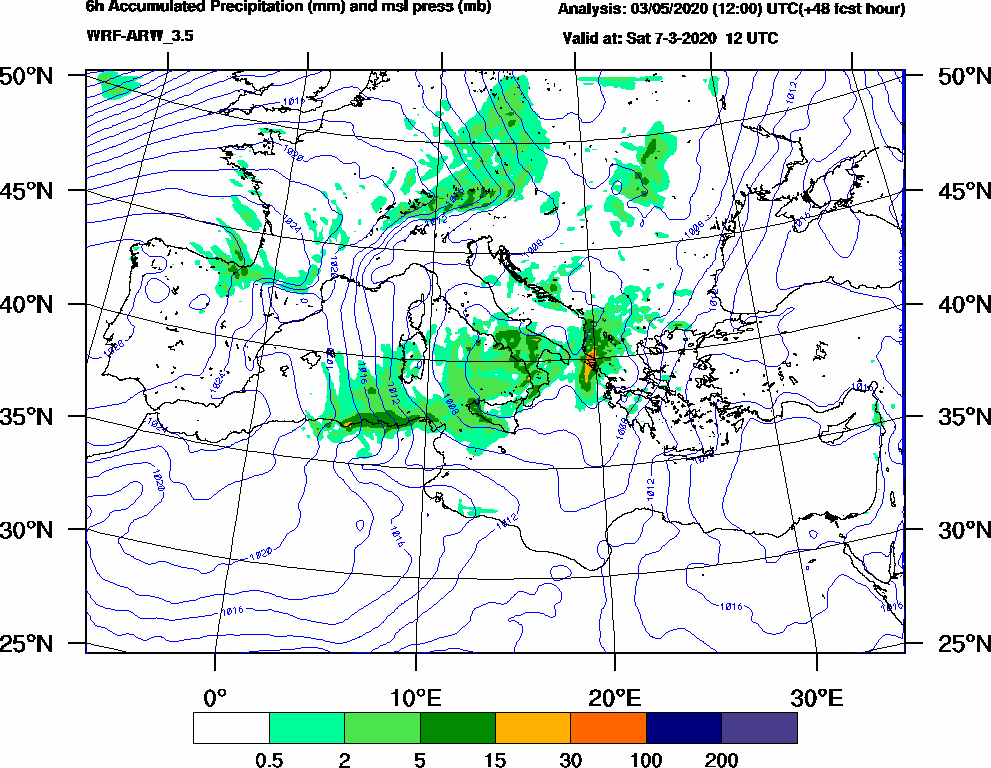 6h Accumulated Precipitation (mm) and msl press (mb) - 2020-03-07 06:00