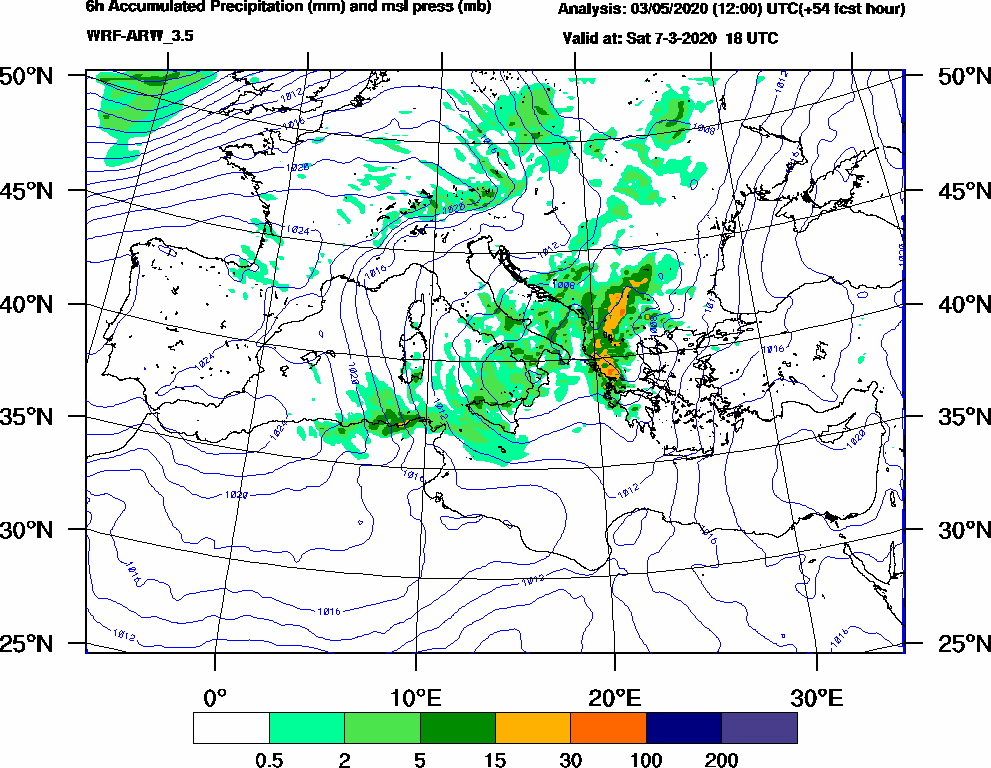 6h Accumulated Precipitation (mm) and msl press (mb) - 2020-03-07 12:00
