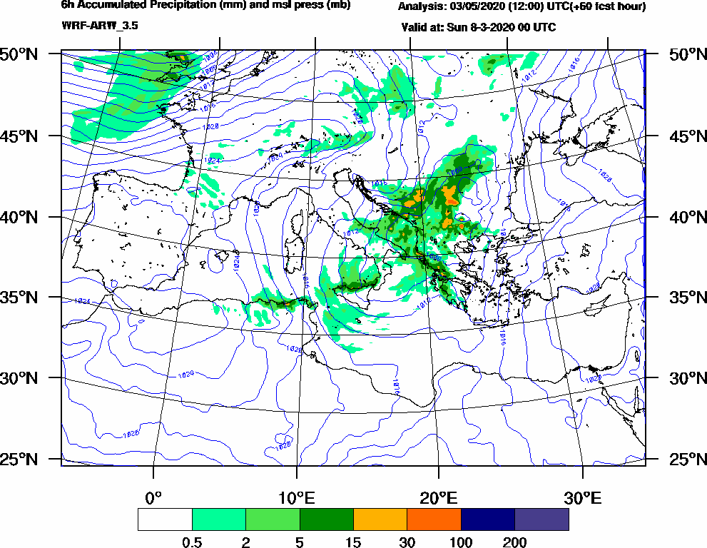 6h Accumulated Precipitation (mm) and msl press (mb) - 2020-03-07 18:00