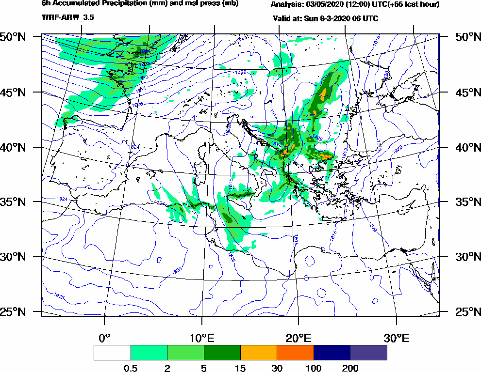 6h Accumulated Precipitation (mm) and msl press (mb) - 2020-03-08 00:00