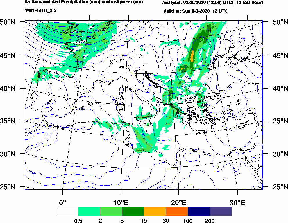 6h Accumulated Precipitation (mm) and msl press (mb) - 2020-03-08 06:00