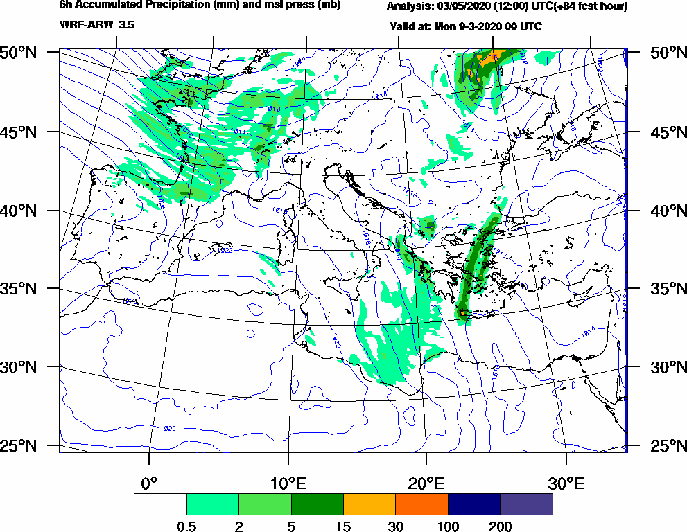 6h Accumulated Precipitation (mm) and msl press (mb) - 2020-03-08 18:00