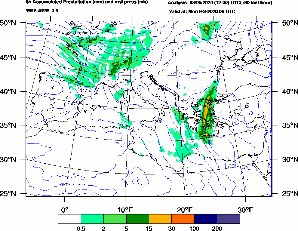 6h Accumulated Precipitation (mm) and msl press (mb) - 2020-03-09 00:00