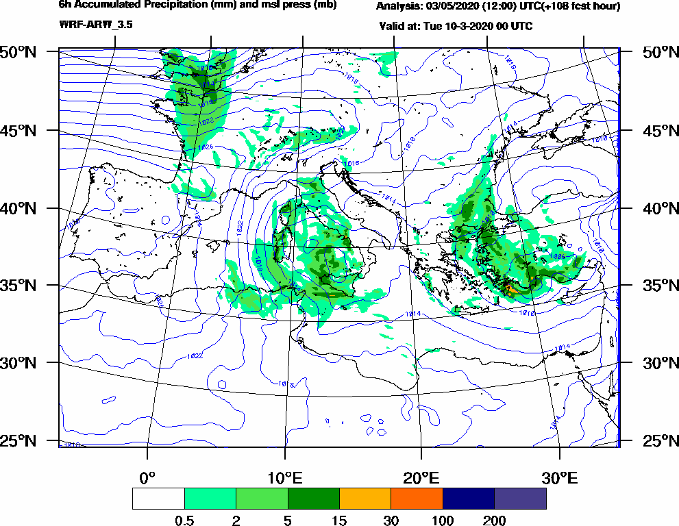6h Accumulated Precipitation (mm) and msl press (mb) - 2020-03-09 18:00