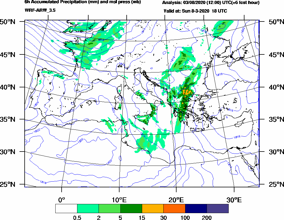 6h Accumulated Precipitation (mm) and msl press (mb) - 2020-03-08 12:00