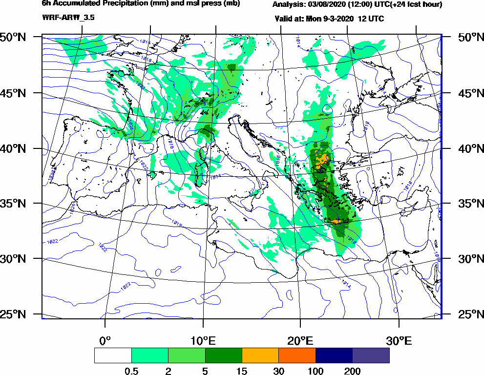 6h Accumulated Precipitation (mm) and msl press (mb) - 2020-03-09 06:00