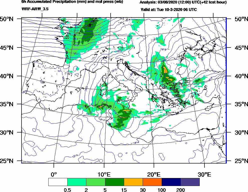 6h Accumulated Precipitation (mm) and msl press (mb) - 2020-03-10 00:00