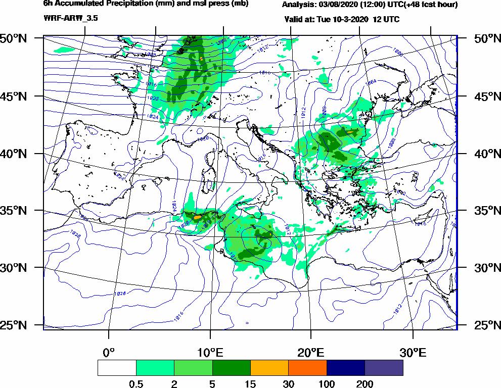 6h Accumulated Precipitation (mm) and msl press (mb) - 2020-03-10 06:00