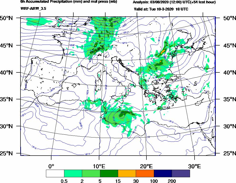 6h Accumulated Precipitation (mm) and msl press (mb) - 2020-03-10 12:00