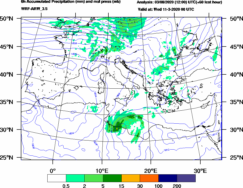 6h Accumulated Precipitation (mm) and msl press (mb) - 2020-03-10 18:00