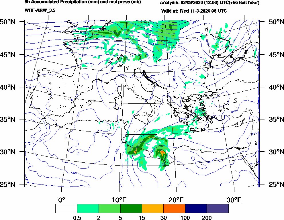 6h Accumulated Precipitation (mm) and msl press (mb) - 2020-03-11 00:00
