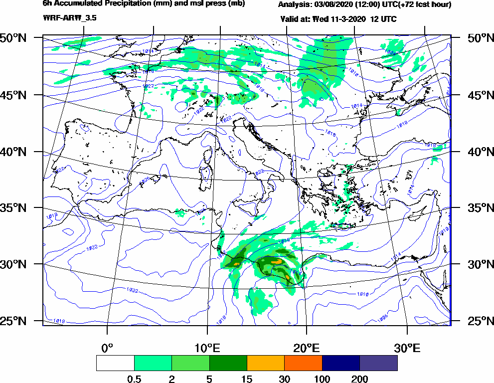 6h Accumulated Precipitation (mm) and msl press (mb) - 2020-03-11 06:00