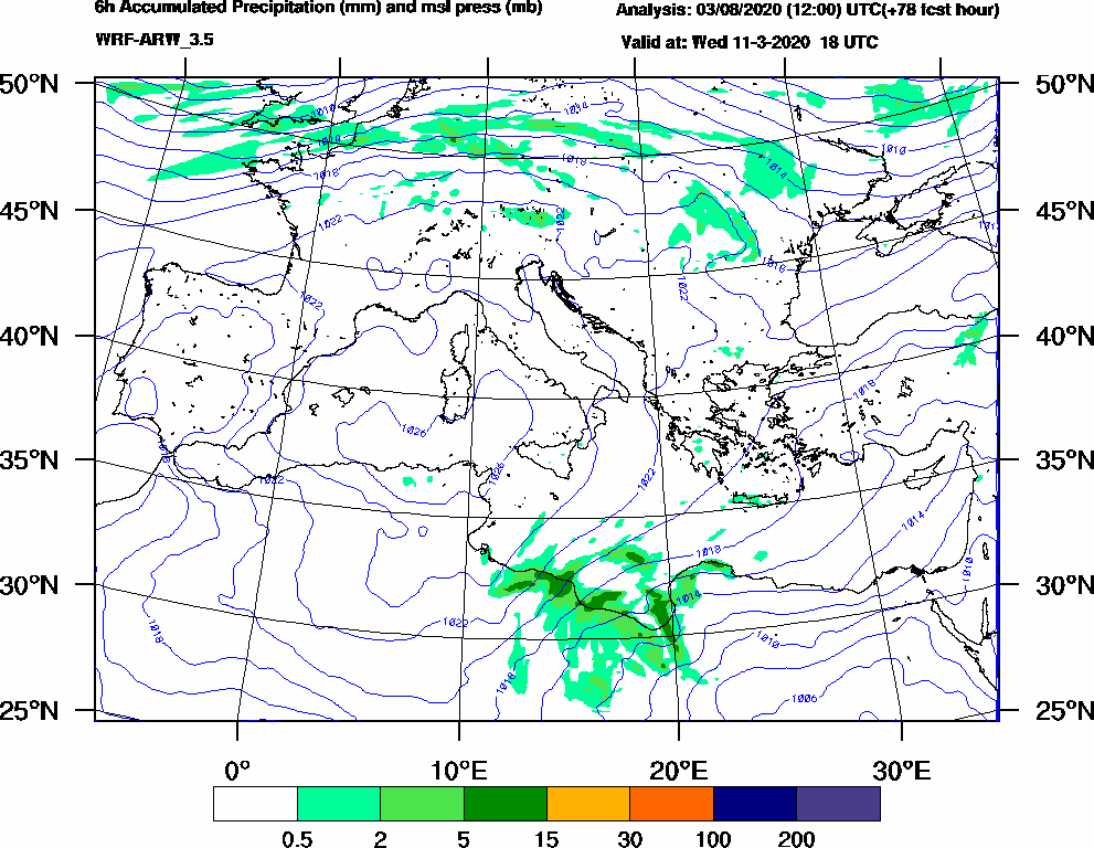 6h Accumulated Precipitation (mm) and msl press (mb) - 2020-03-11 12:00