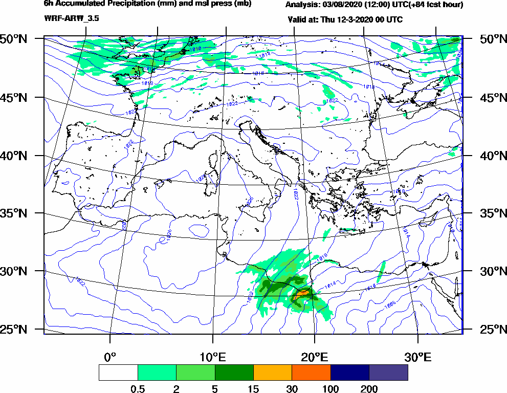 6h Accumulated Precipitation (mm) and msl press (mb) - 2020-03-11 18:00