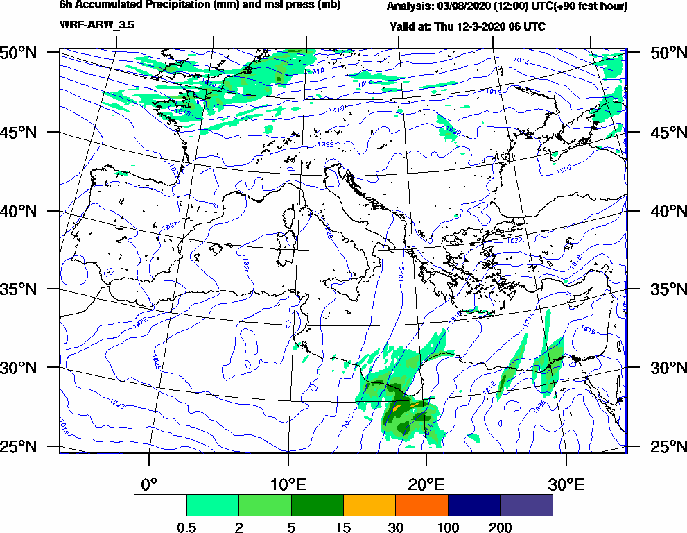 6h Accumulated Precipitation (mm) and msl press (mb) - 2020-03-12 00:00
