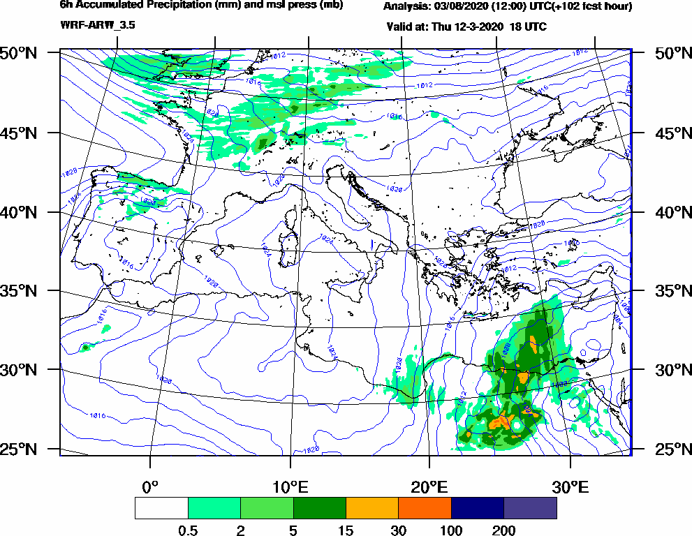 6h Accumulated Precipitation (mm) and msl press (mb) - 2020-03-12 12:00