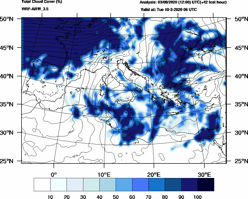 Total cloud cover (%) - 2020-03-10 00:00