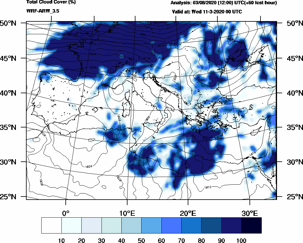 Total cloud cover (%) - 2020-03-10 18:00