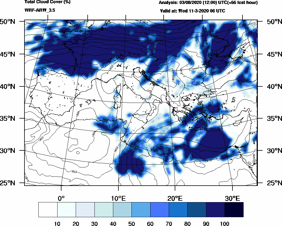 Total cloud cover (%) - 2020-03-11 00:00