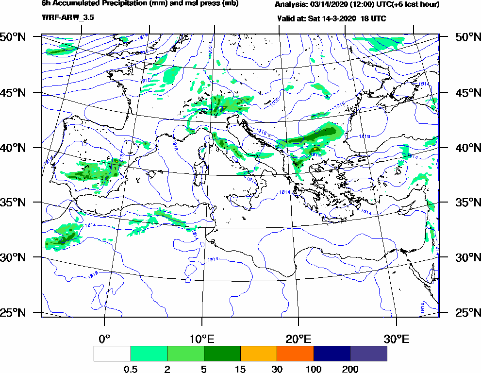6h Accumulated Precipitation (mm) and msl press (mb) - 2020-03-14 12:00