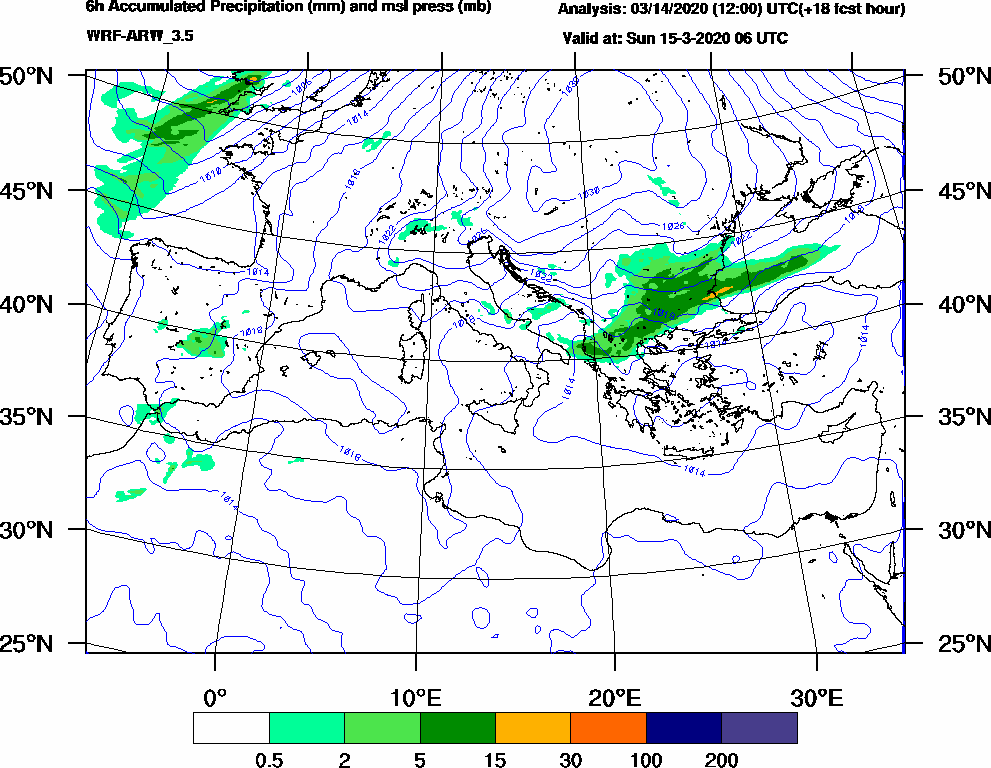6h Accumulated Precipitation (mm) and msl press (mb) - 2020-03-15 00:00