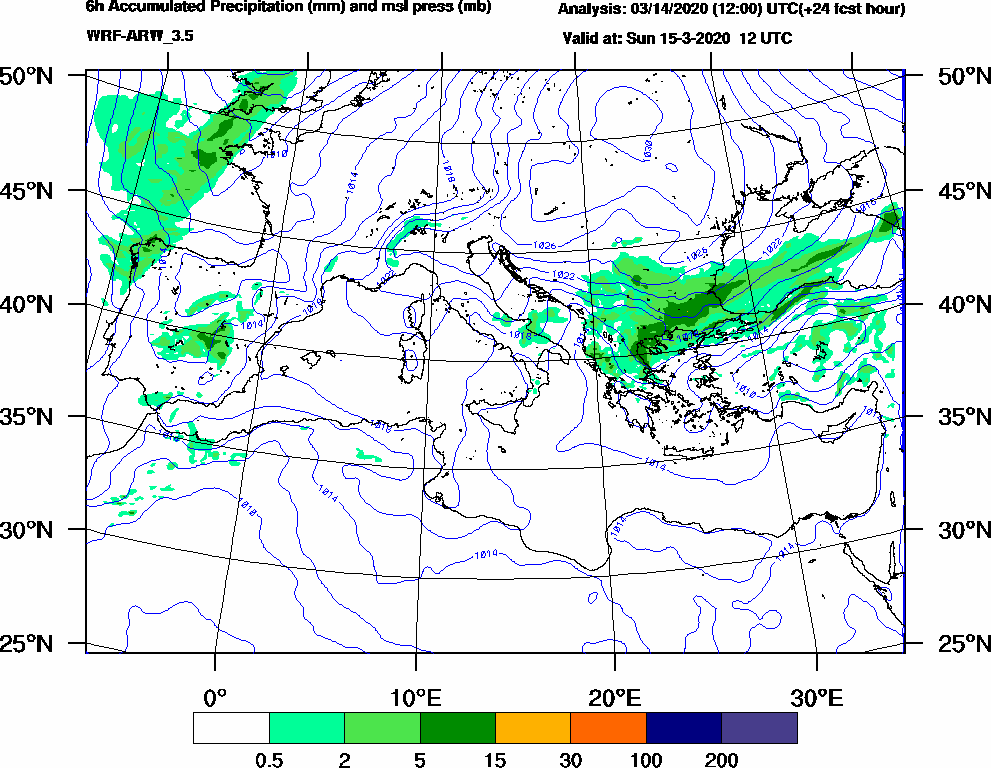 6h Accumulated Precipitation (mm) and msl press (mb) - 2020-03-15 06:00