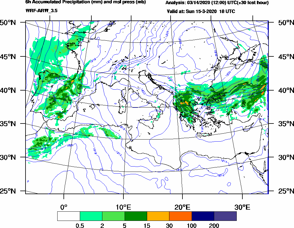 6h Accumulated Precipitation (mm) and msl press (mb) - 2020-03-15 12:00