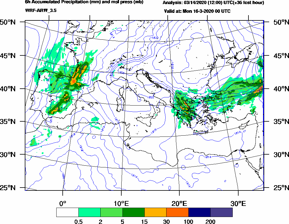 6h Accumulated Precipitation (mm) and msl press (mb) - 2020-03-15 18:00