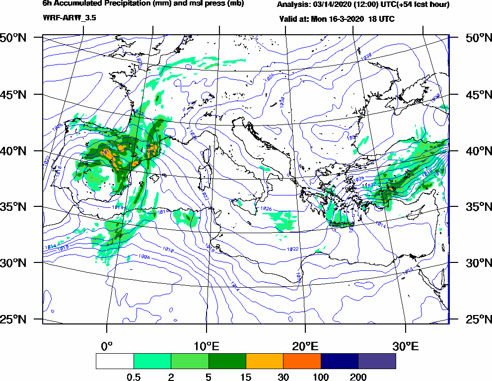 6h Accumulated Precipitation (mm) and msl press (mb) - 2020-03-16 12:00