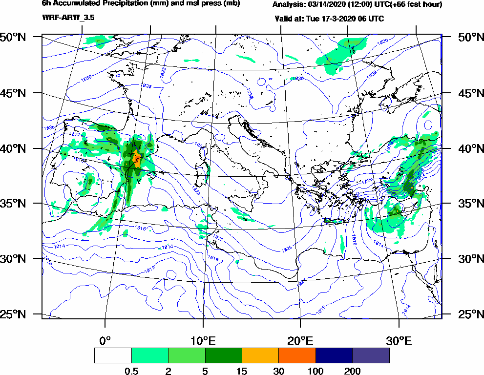 6h Accumulated Precipitation (mm) and msl press (mb) - 2020-03-17 00:00