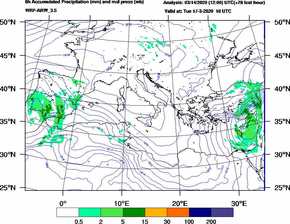 6h Accumulated Precipitation (mm) and msl press (mb) - 2020-03-17 12:00