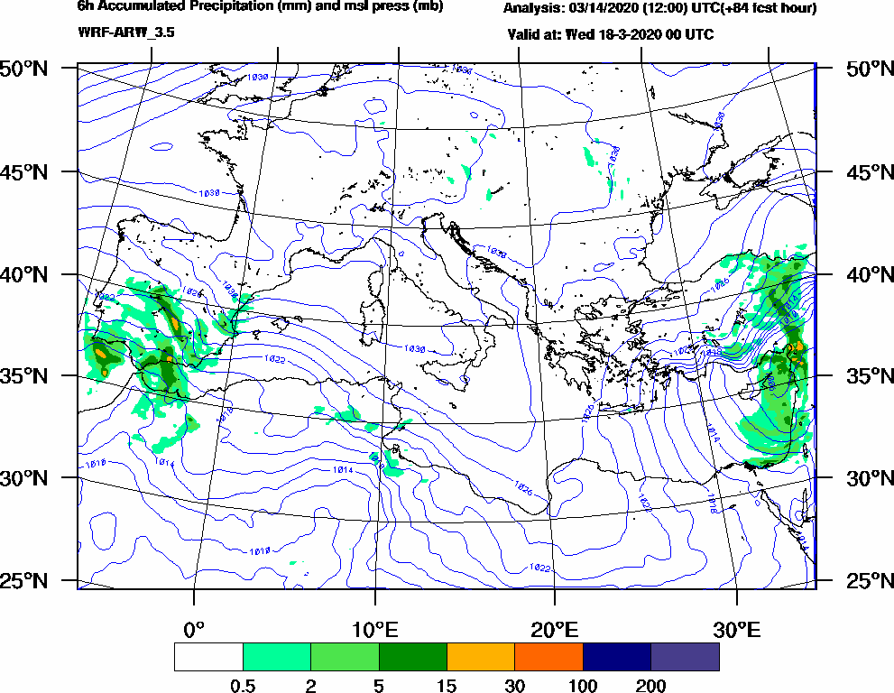 6h Accumulated Precipitation (mm) and msl press (mb) - 2020-03-17 18:00
