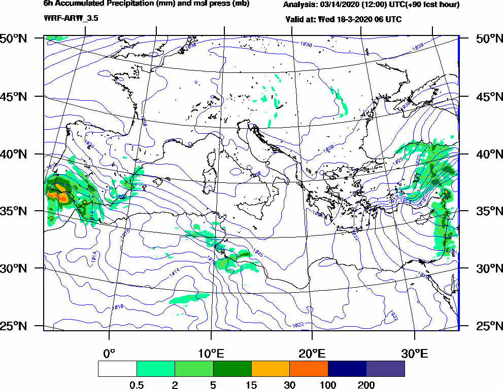 6h Accumulated Precipitation (mm) and msl press (mb) - 2020-03-18 00:00