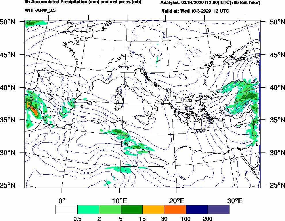 6h Accumulated Precipitation (mm) and msl press (mb) - 2020-03-18 06:00