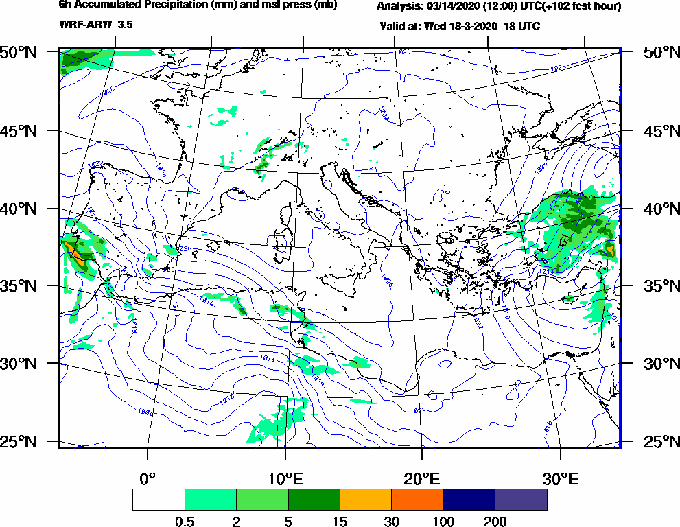 6h Accumulated Precipitation (mm) and msl press (mb) - 2020-03-18 12:00